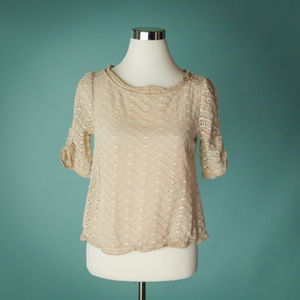 Joie XS Ivory Eyelet Lace Embroidered Silk Top